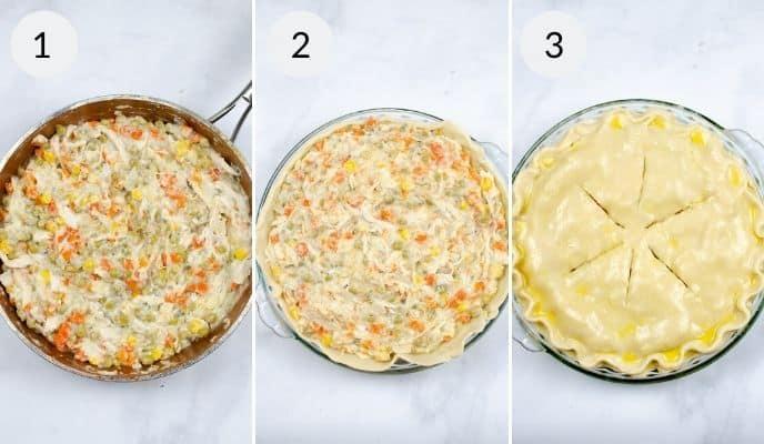 Final three steps in making pot pie recipe with turkey