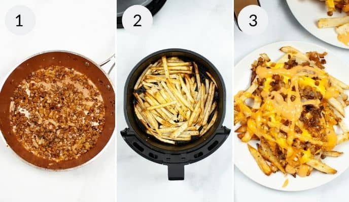 last three steps for air fryer in n out animal fries