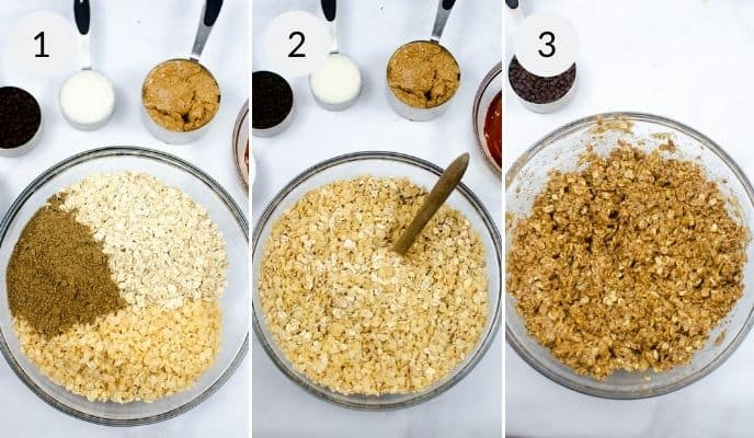 Glass bowl with oats and beanutbutter before during and after mixing