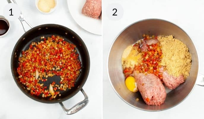 Creation of meatloaf and finished meatloaf in pot.