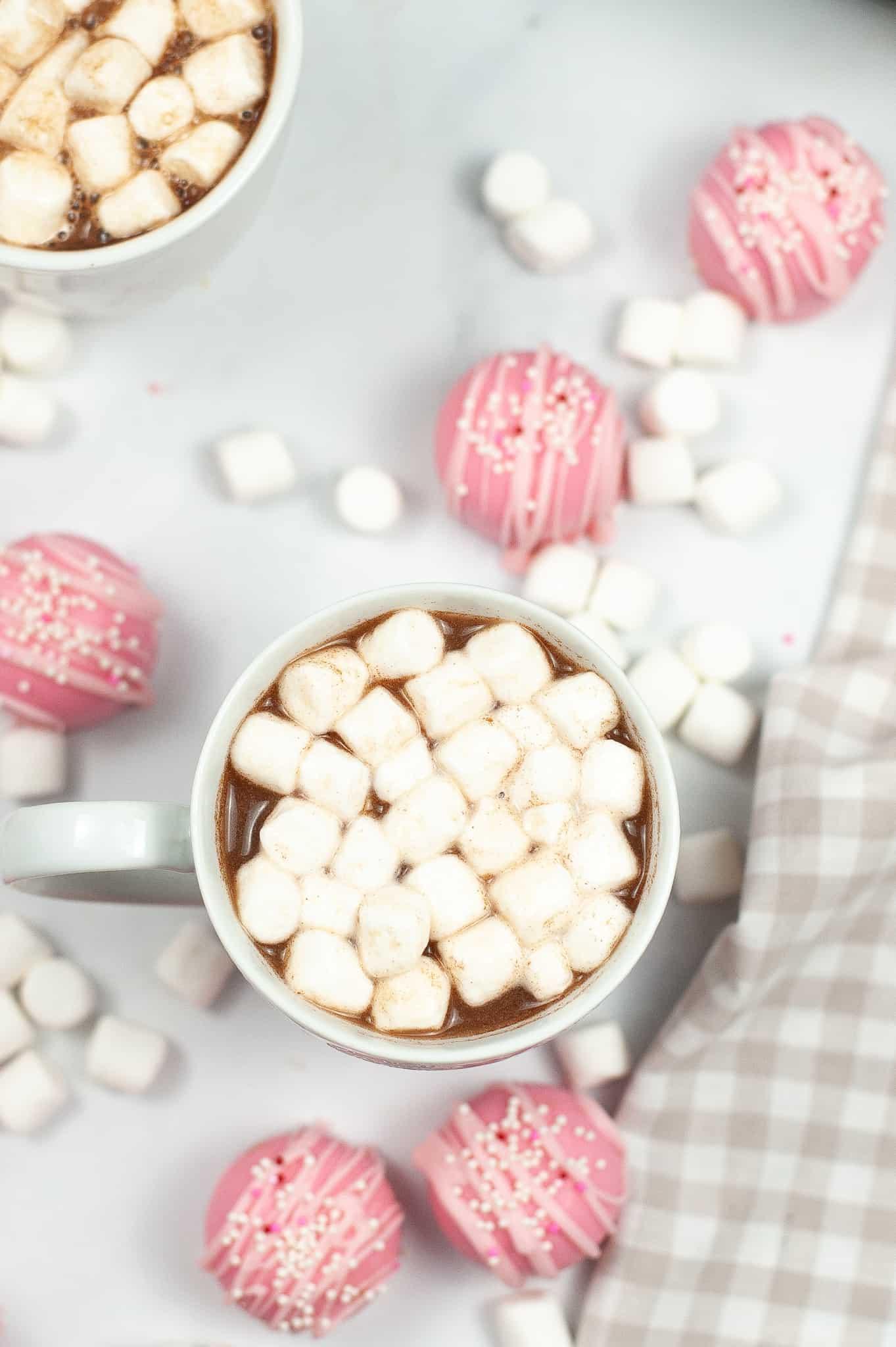 mug of hot chocolate made with cupid hot choclate bomb