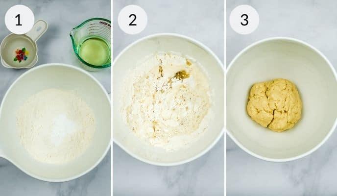 First 3 steps in making homemade flour tortillas
