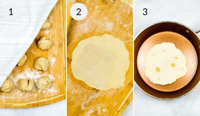 Last three steps in making homemade flour tortillas