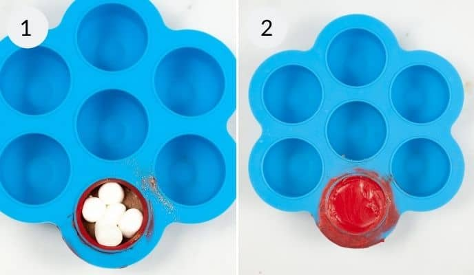Molds filled with Hot chocolate balls