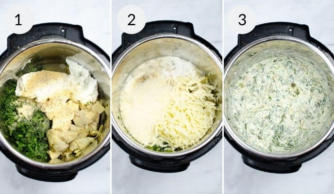 Ingredients in instant pot, before and after cooking