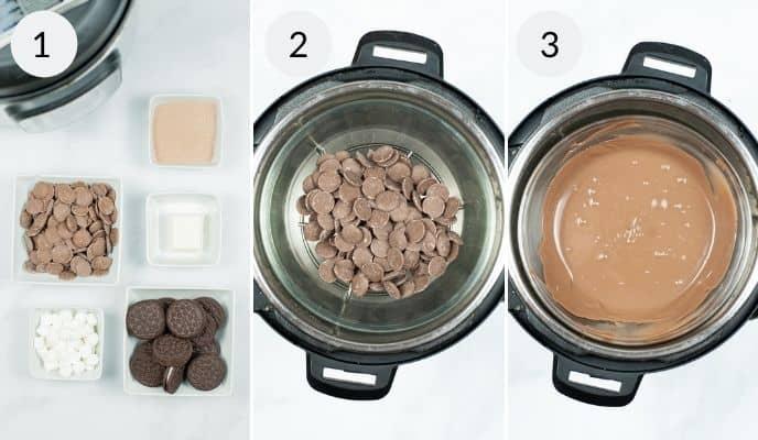 Instant Pot Oreo Hot Chocolate Bombs process shots