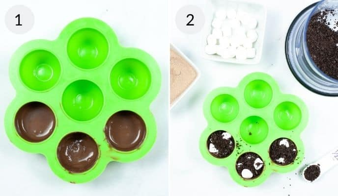 Green molds filled with Oreo Hot Chocolate bombs
