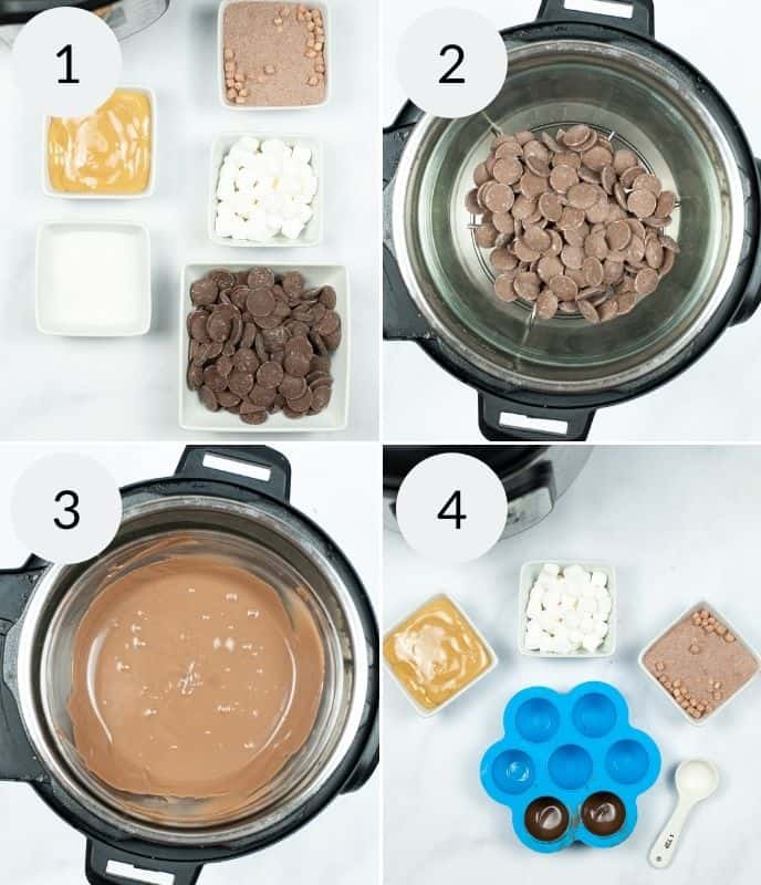 Steps to create salted caramel bombs. with Instant pot