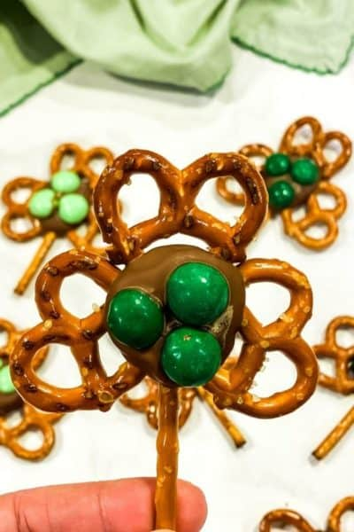 Shamrock pretzel closeup with several in the background