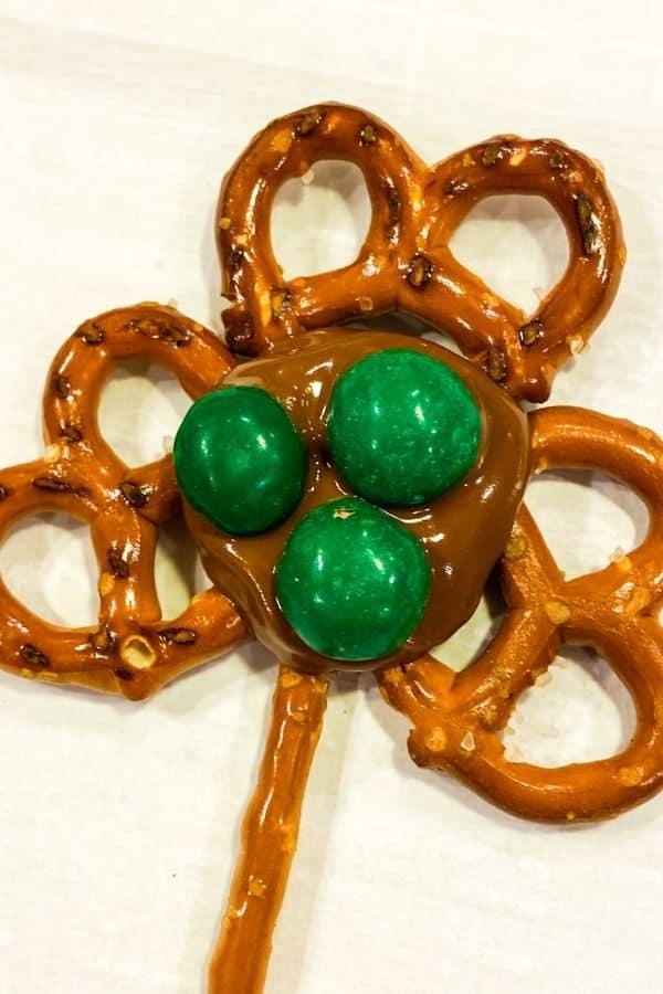 Close up on shamrock pretzels