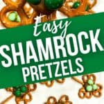 Easy Shamrock Pretzels in Closeup and on parchment