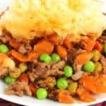 Shepherds pie on a white plate e