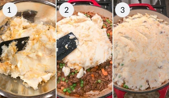 The final 3 steps of Making shepherds pie