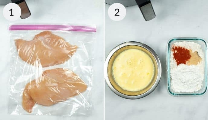 Chicken marinating in bag and bows of egg and dry ingredients for sandwich