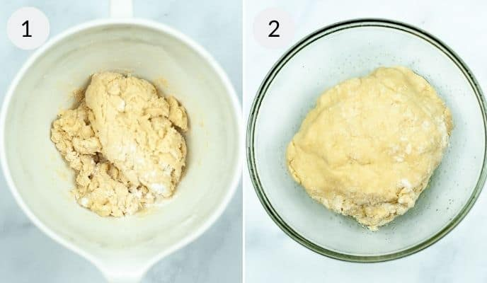 Bowl with flour and dry ingredients and then picture of finished dough for Air Fryer Copycat Cinnabon Cinnamon Rolls