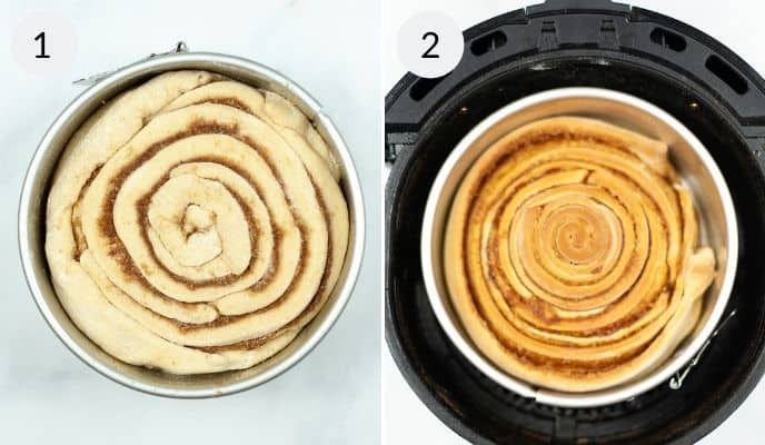 Dough in the Air Fryer to be cooked and shot after it has been cooked For Air Fry Cinnamon Rolls
