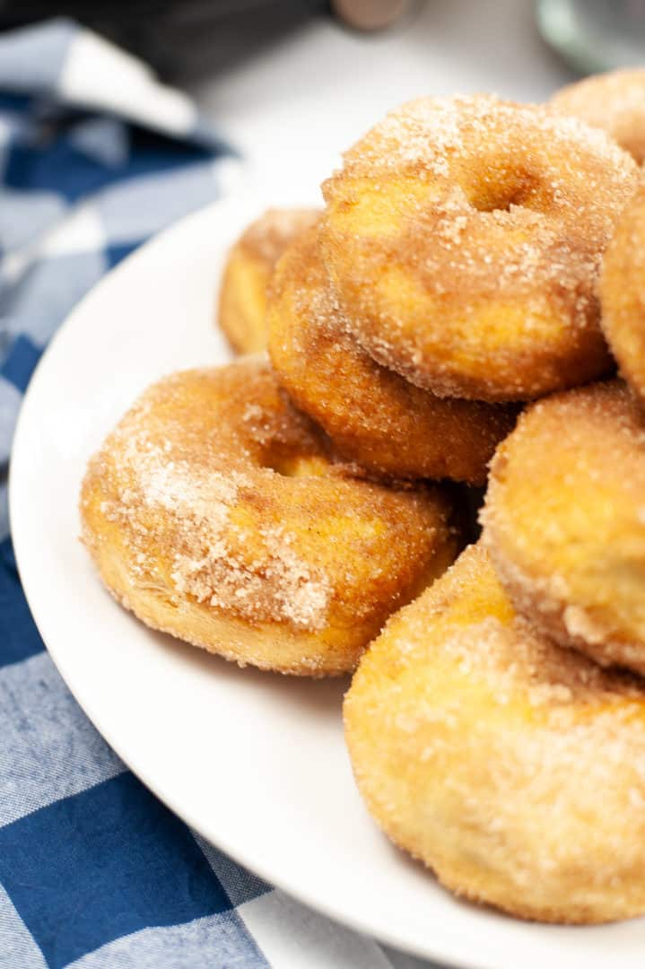 A close up look at air fryer cinnamon donuts