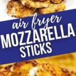 Close up and group shot of air fryer mozzarella sticks