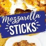 close up and stack of mozzarella sticks