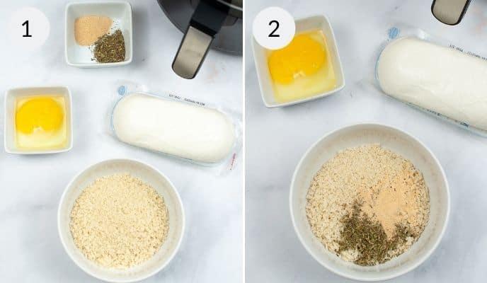 Ingredients for Air Fryer Mozzarella Sticks in bowls.