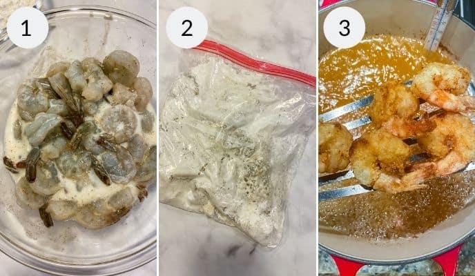 step by step instructions for making bang bang shrimp