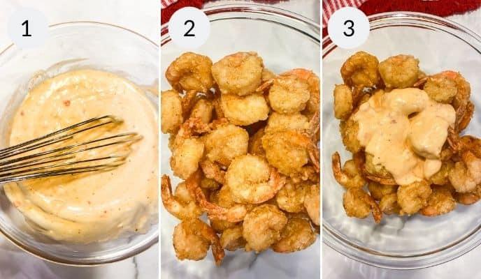 Step by step instructions for making bang bang shrimp sauce