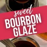 Two top views of the bourbon glaze in a glass jar. one close up.