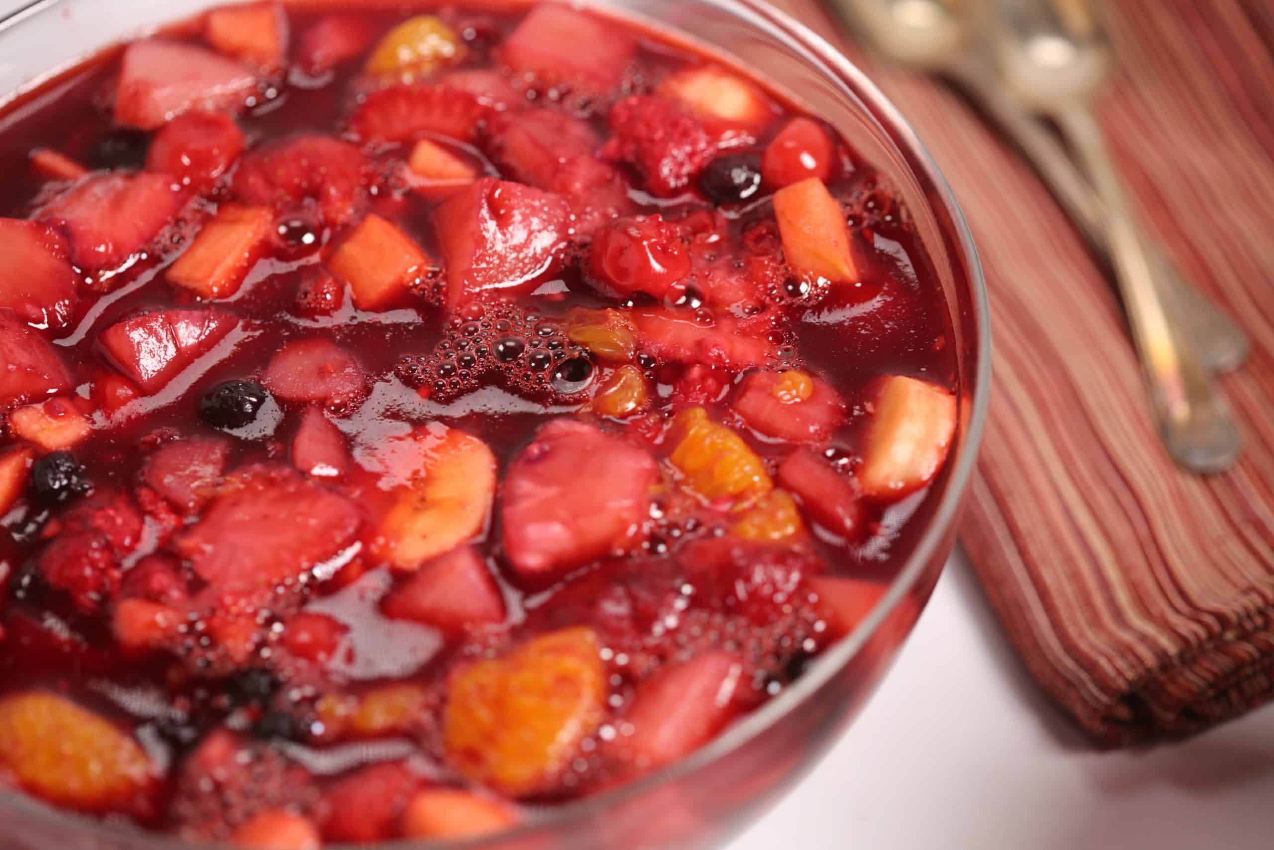Large Clear Bowl of Cherry Jello with Fruit