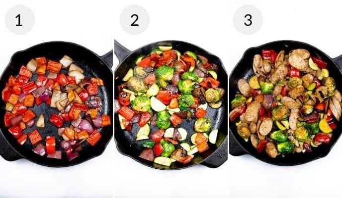 3 photos of skillet with steps of preparing vegetables