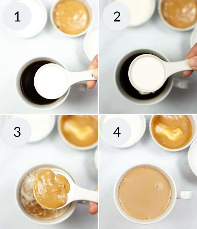 Pouring creamer into coffee and then caramel and other ingredients to make caramel macchiato