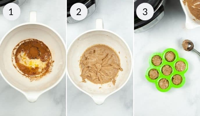 Mix ingredients in a bowl, finished mix in a bowl and bites in the mold for churro bites