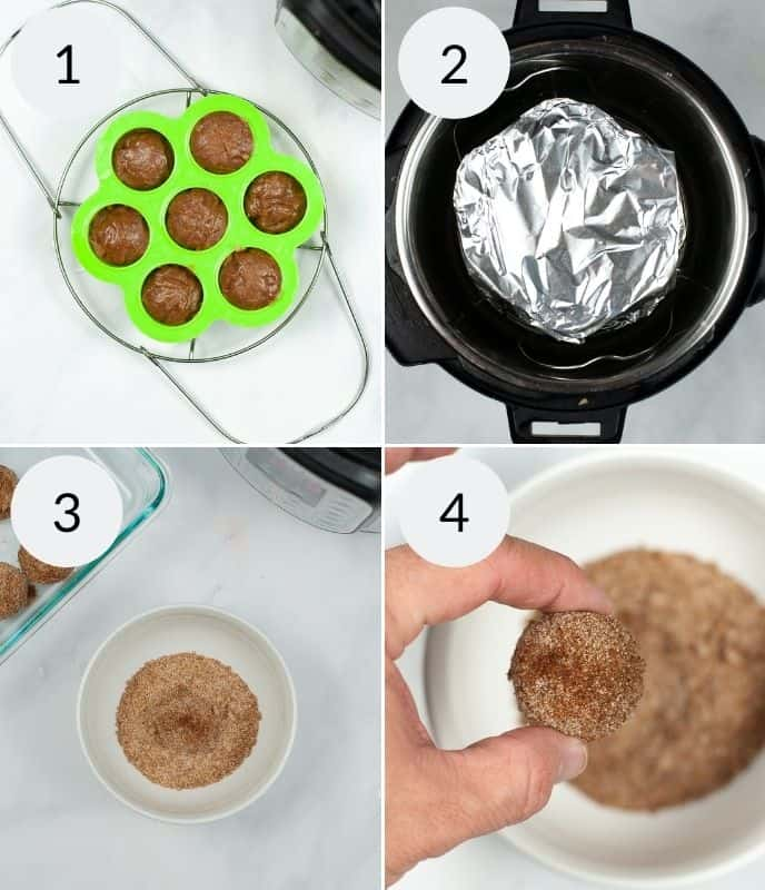 Churro bites in a mold, wrapped in an instant pot, the cinnamon sugar mix in a bowl and a ball rolled in the mix