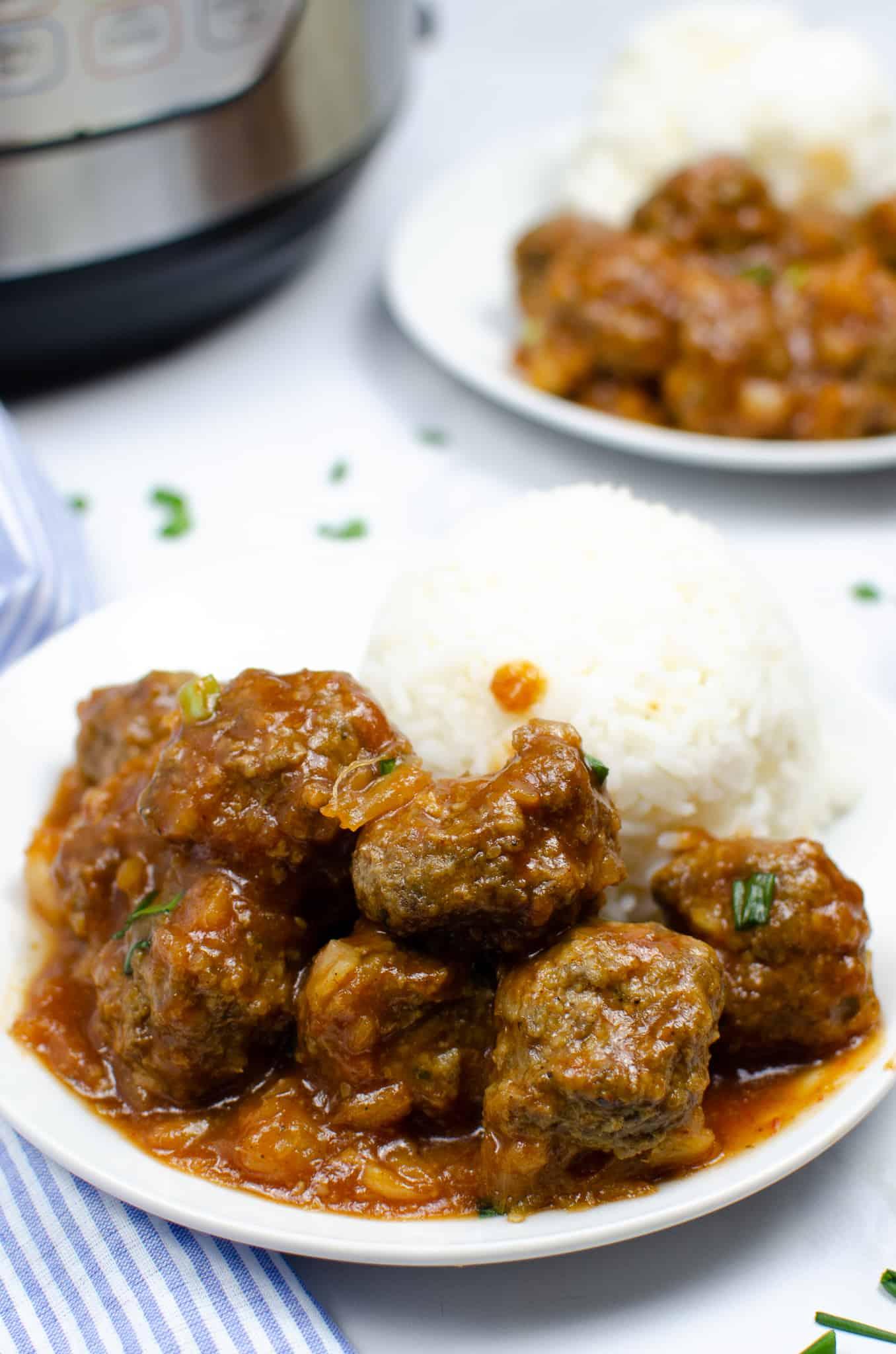 Close up of Instant Pot Hawaiian meatballs
