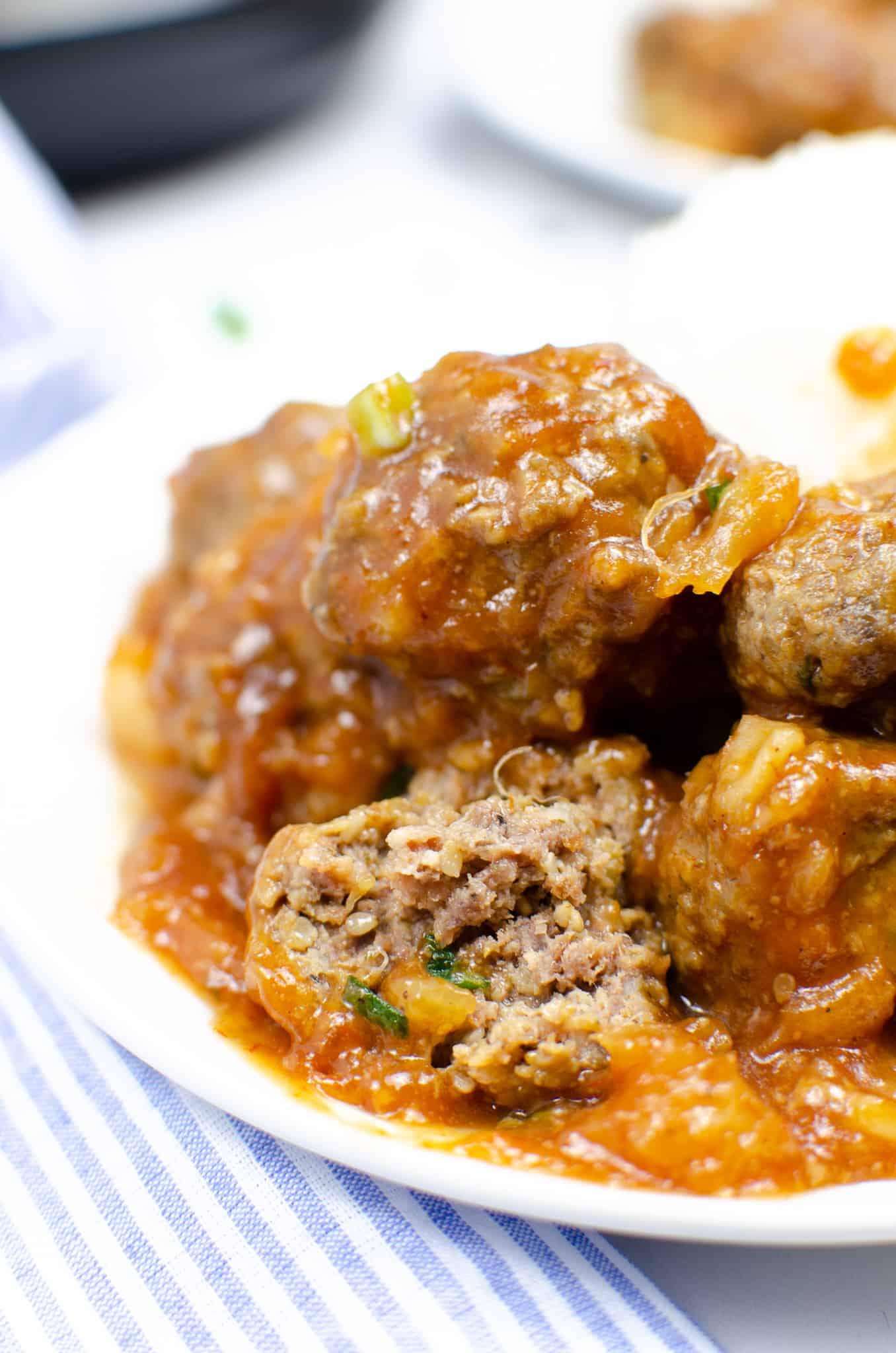 A plate of Instant Pot Hawaiian Meatballs