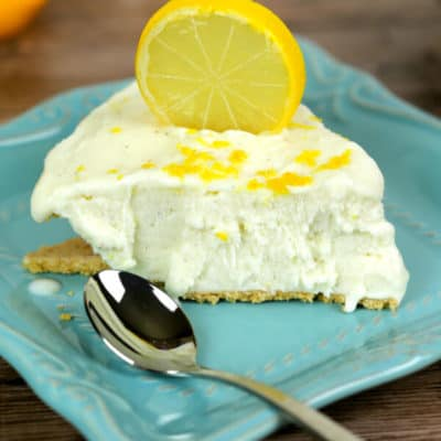 No Bake Lemon Ice Box Pie on a Turquoise dish