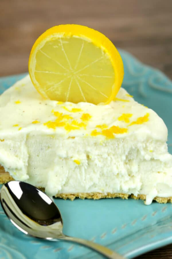 No Bake Lemon Ice Box Pie with lemon peal