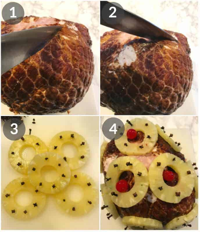Steps for Pineapple glazed ham, 1st scoring, them adding cloves to pineapple and then applying them to ham