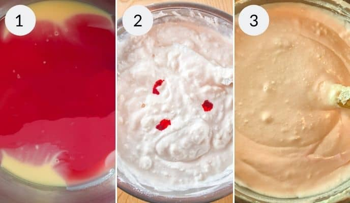 Process of how to make the pink lemonade pie, including adding of coloring to make it pink.