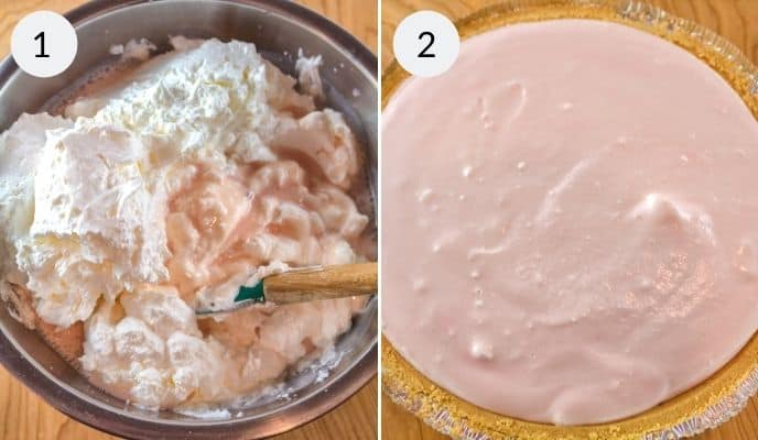 Final preparation of lemonade pie by adding whipped topping and the final product in the pie shell.