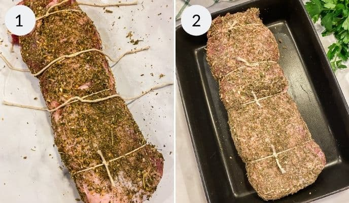 Porchetta wrapped in twine and then placed in baking pan