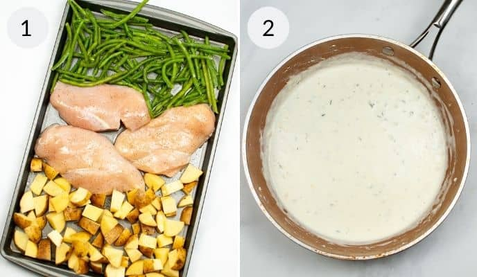 Sheet pan with chicken potatoes and beans on it and a pan with sauce in it.