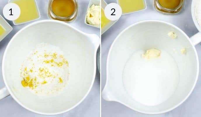 collage showing 2 image of how to begin making starbucks lemon load, with a big white bowl having ingredients added to it.