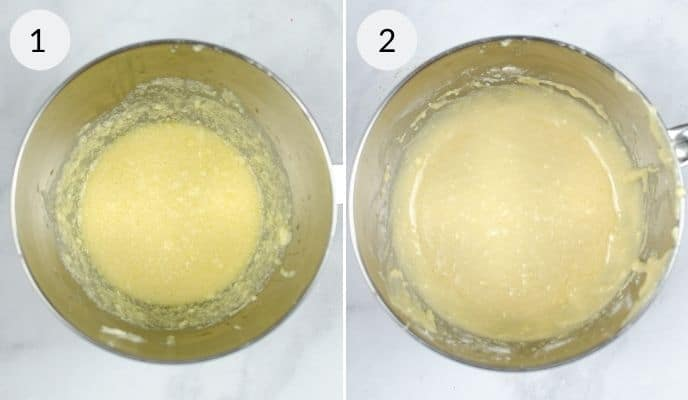 2 process photos in a collage showing how to make the Glaze for Starbucks lemon  loaf in a silver bowl