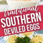 side close up and overhead shot of traditional southern deviled eggs