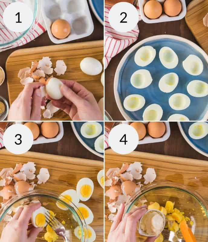 process photo collage showing how to make traditional southern deviled eggs including how to unpeel and remove the yold