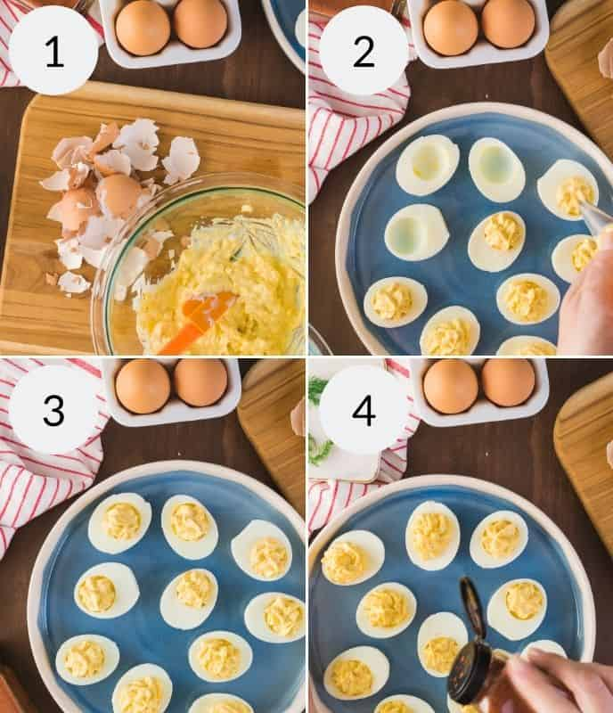 making filling and then filing the traditional southern deviled eggs