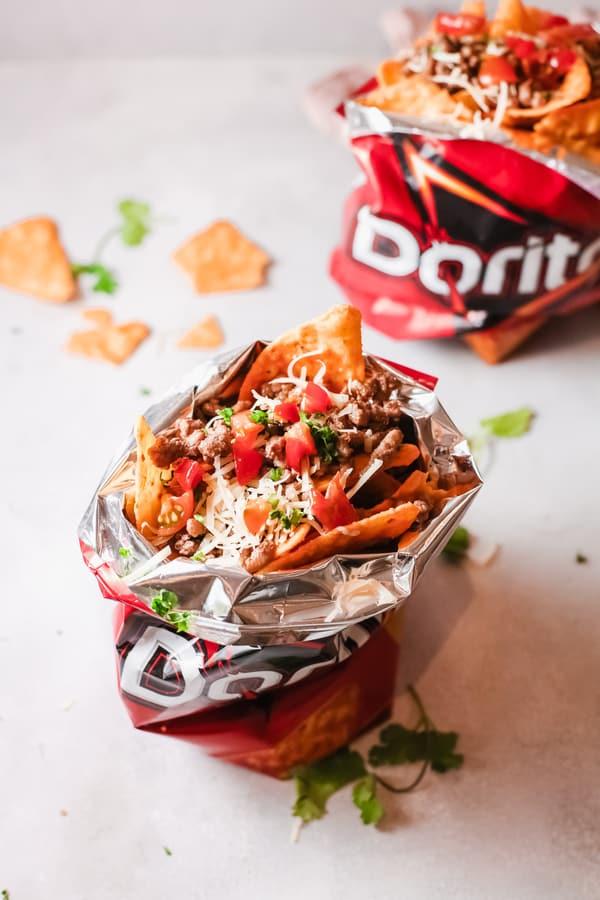 Walking taco piled in a Dorito bag