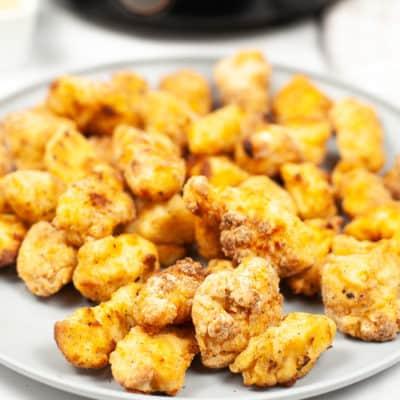 Plate of crunch air fryer chicken nuggets