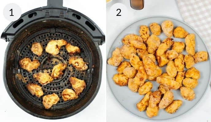 Air Fryer nugget done in air fryer and completed nuggets on a plate