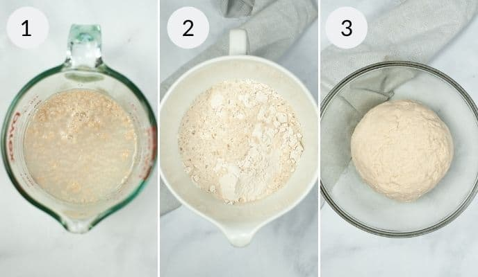 Large measuring cup with the ingredients and then finally the dough in them.